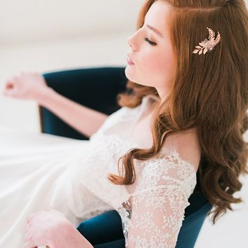 Rose gold floral hair comb - Style 3007