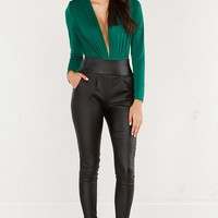 Draped dressy bodysuit with plunging neckline in brown and green