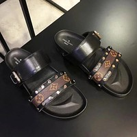Louis Vuitton LV High Quality Women Popular New Summer Beach Home Metal Buckle Slippers Sandals Shoe Women Black