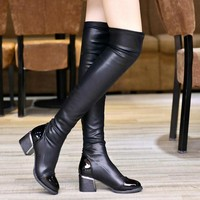2017 Sexy Women Thigh High Boots Over The Knee Boots Classic Spring Autumn Ladies Shoes Woman Thin Heels Mujer Zapatos Designer