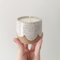 Hand poured lavender scented candle in hand thrown white ceramic container Candle holder Handmade soy wax candle ceramic candle
