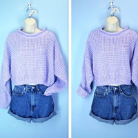 Vintage Cropped Sweater / 1980s Lavender Waffle Crop Sweater / L