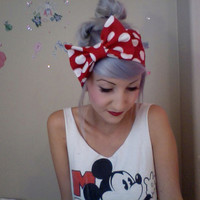 MINNIE MOUSE inspired big polka dot red and white bow by ammeB
