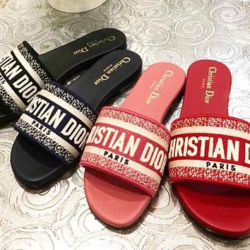 Dior CD Woven Embroidered Flat Slippers Letter Print Sandals Ladies Shoes