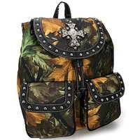 Camo Leaf Studded Cross Backpack Purse Camouflage Bag (Black)