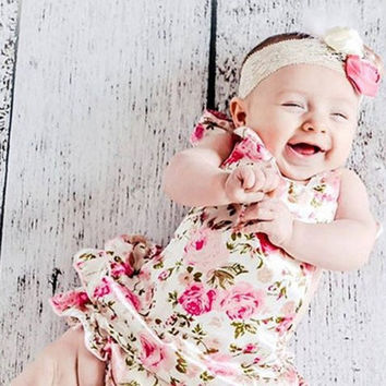 Fashion Lace Floral one-pieces Jumpsuit Sexy Ruffles Romper Tutu Dress Baby Newborn Toddler Girls Bodysuit Playsuit photography Props outfits = 1958188164
