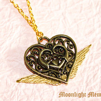 Sailor Moon Necklace - Inspired by Sailor Moon's Eternal Moon Article - Handmade Wing Heart Sailor Moon Necklace Jewelry Gift