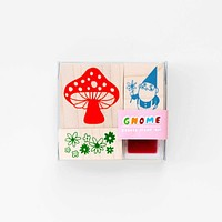 Gnome And Mushroom Stamp Kit   Includes Ink Pad   In a Clear Box