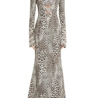 Badgley Mischka Couture Leopard Print Beaded Gown | Nordstrom
