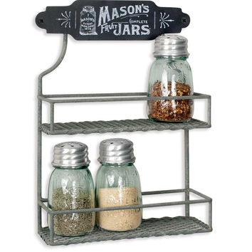 Antique Mason Jar Two Tier Wall Mount Spice Rack - *FREE SHIPPING*