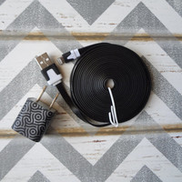 New Super Cute Black Scroll Designed Wall iphone 5/5s Charger + 10ft Flat Black Cable Cord Super Long