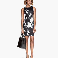 Black Floral Print Sleeveless Zip-Back Bodycon Dress
