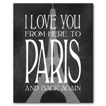 I love you from here to Paris and back again - Eiffel Tower France Typography Word Art Print - Chalkboard, French script, romance