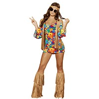 Sexy Psychedelic Fringe Hippy Girl Halloween Costume