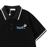 Dior Tide brand men's lapel embroidered bee POLO shirt short-sleeved T-shirt Black
