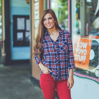 Plaid Flannel in Navy