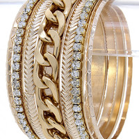 Braid & Stack Bangle Bracelet: Gold