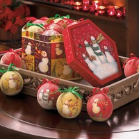 Snowman Family Frosted Ornament Box Set