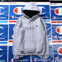 Champion Hoodies embroidery Basic classic multi-color plus velvet sweater Gray