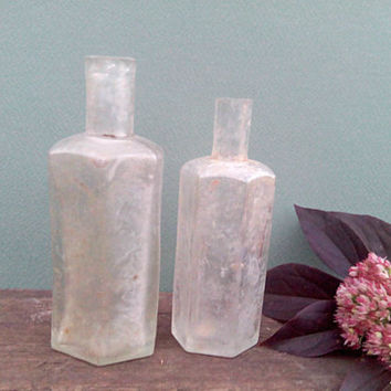 Old antique medicine bottles apothecary jars set of 2 small mason witch jars empty wine potion holder - antique glass jars harry potter