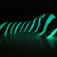 Glass Pipe - Glow in the Dark and Sparkle Dichro Stripes