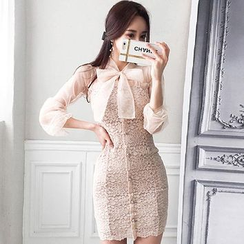 Women Office Lace patchwork Dress Single-breasted Bow tie Crochet Casual long Sleeve Dress women Clothing