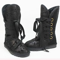 UGG Hight top snow boots ordinary color series Black - printed