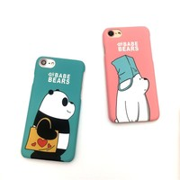 Meachy We Bare Bears Hard Phone Cases For iPhone 6 6s Plus 7 7plus Case Cute Cartoon Hard PC Back Cover Case     N21
