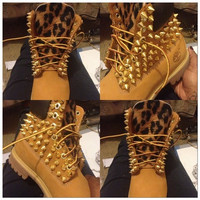 Customize Your Timberland boots, adult and children leopard and gold spikes