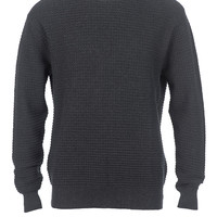Charcoal Waffle Knit Pull Over Sweater