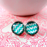 Aqua and White Geometric Chevron Stud Style Earrings in Silver setting, Glass Jewelry, 12mm Round