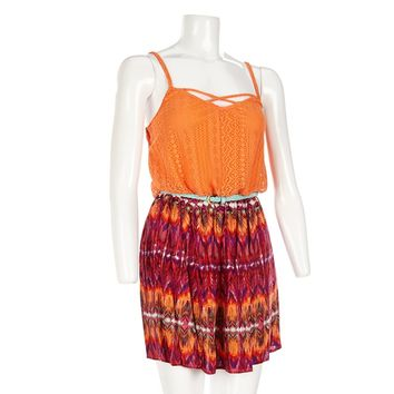 Crochet Top and Aztec Skirt Dress Jr 218863530 | Casual | Dresses | Juniors | Burlington Coat Factory
