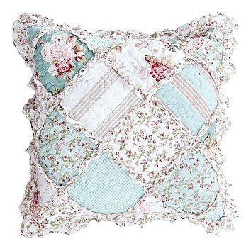 """DaDa Bedding Set of 2 Hint of Mint Floral Cotton Patchwork Ruffle Throw Pillow Covers, 18"""" (JHW3036)"""