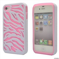 Fashion 2in1 Pink Zebra Style Hard Back Case Cover For Apple iPhone 4 4S 3692US