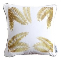 Palm Leaf Decorative Throw Pillow w/ Reversible Gold & White Sequins | COVER ONLY (Inserts Sold Separately)