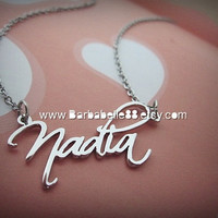 Personalized Any Name Necklace come with chain Gift box included.(Script font)
