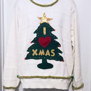 Ugly Christmas Sweater, Grinch Sweater, Christmas Sweater, Ugly Sweater Party, White Sweater, XXL,  Item #4