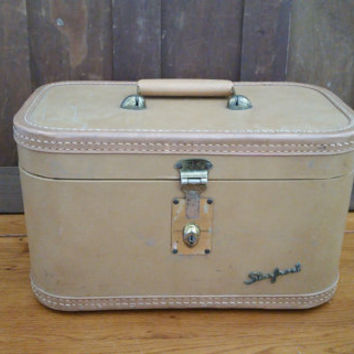 Vintage Tan Starfrost Train Case Cosmetics Case With Mirror