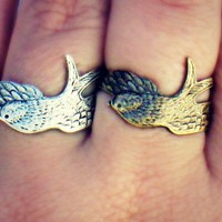 bird friendship rings, feather rings, wing ring, ring set,