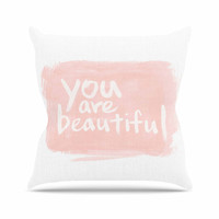 "Qing Ji ""Brush Lettering Beautiful"" Peach White Throw Pillow"