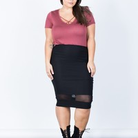 Plus Size Mesh Lined Bodycon Skirt