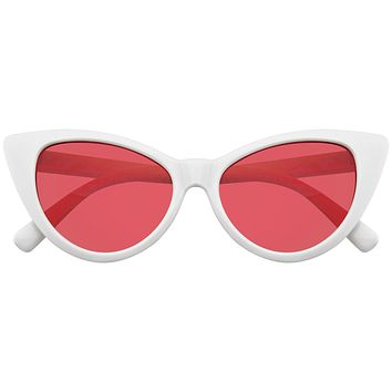 Retro 1990's Color Tone Fashion Mod White Super Cat Eye Sunglasses