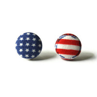 Patriotic Stars and Stripes Fabric Covered Button Earrings