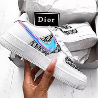 Air Force 1 x Dior Nike Man Women Print More Sneakers Women Men Trending Shoes White+Black