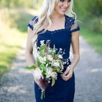 Sparks Fly Bridesmaid Dress in Midnight Blue