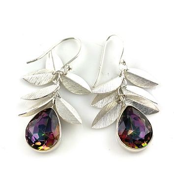 Mystic Topaz Leaf Sterling Silver Earrings
