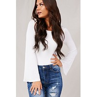 Flare Enough Bell Sleeve Bodysuit (Ivory)