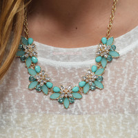 Blooming Buds Mint & Ivory Flower Statement Necklace