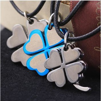 Stylish New Arrival Jewelry Gift Shiny Korean Hot Sale Couple Accessory Unisex Stainless Steel Titanium Fashion Pendant Leaf Necklace [6542508739]