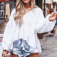 Lace up Women Blouses Casual V Neck Boho Tops Blouse Long Lantern Sleeves Shirt Tops Blusas